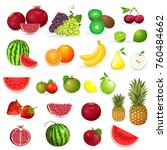 delicious set of fresh fruits... | Shutterstock .eps vector #760484662