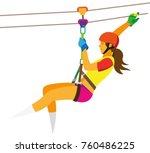 a young woman in a red helmet...   Shutterstock .eps vector #760486225
