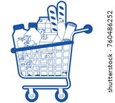 supermarket shopping cart with... | Shutterstock .eps vector #760486252