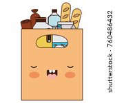 kawaii square paper bag with... | Shutterstock .eps vector #760486432