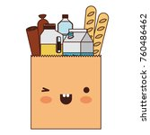 kawaii square paper bag with... | Shutterstock .eps vector #760486462