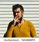 man with serious face on white... | Shutterstock . vector #760488895