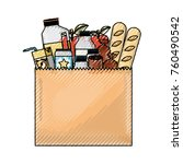 paper bag with market of food... | Shutterstock .eps vector #760490542