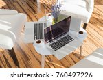 side view of laptop computers... | Shutterstock . vector #760497226