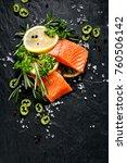 fresh fish portions with lemon... | Shutterstock . vector #760506142