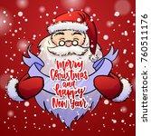 santa claus holds christmas... | Shutterstock .eps vector #760511176