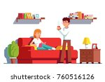 husband and wife relaxing at... | Shutterstock .eps vector #760516126