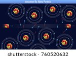 ionization by alpha particle ... | Shutterstock . vector #760520632