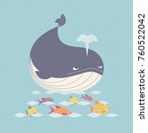 blue whale icon cute cartoon