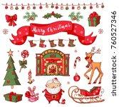 merry christmas set....   Shutterstock .eps vector #760527346