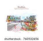 watercolor splash with sketch ... | Shutterstock .eps vector #760532656