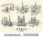 paris illustration. ink and pen ... | Shutterstock .eps vector #760534306