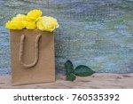 bouquet of yellow roses in... | Shutterstock . vector #760535392