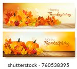happy thanksgiving banners with ...   Shutterstock .eps vector #760538395