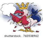 a bald bird with a crown on his ... | Shutterstock . vector #760538962