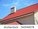 beautiful red metal roof with... | Shutterstock . vector #760540078