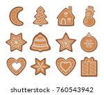 christmas gingerbread cookies... | Shutterstock .eps vector #760543942