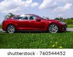 red tesla model s p85  a luxury ... | Shutterstock . vector #760544452