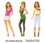 three young women with a photo... | Shutterstock .eps vector #76054735