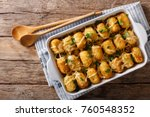 american food  tater tots with... | Shutterstock . vector #760548352