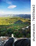 traveler on peak of mountain.... | Shutterstock . vector #760556662