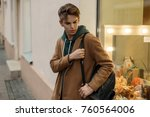 young stylish man with a... | Shutterstock . vector #760564006