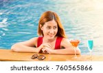 pretty young woman drinking... | Shutterstock . vector #760565866