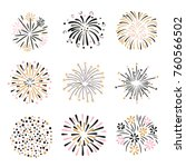 set of hand drawn fireworks in... | Shutterstock .eps vector #760566502