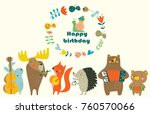 Stock vector birthday card with cute animals playing the musical instruments cartoon style 760570066
