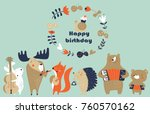 birthday card with cute animals ... | Shutterstock .eps vector #760570162