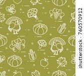happy thanksgiving cartoon... | Shutterstock .eps vector #760570912