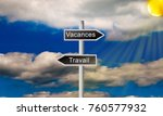 holiday direction road sign on... | Shutterstock . vector #760577932