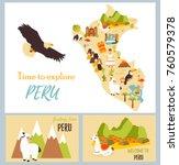 set of tourist cards of peru... | Shutterstock .eps vector #760579378