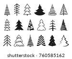 hand drawn christmas tree...   Shutterstock .eps vector #760585162