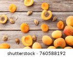 Sweet Apricots On Grey Wooden...