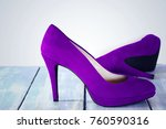 purple velvet  shoes heels on... | Shutterstock . vector #760590316