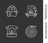 firefighting chalk icons set.... | Shutterstock .eps vector #760592212