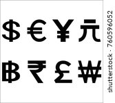 various currencies signs.... | Shutterstock . vector #760596052