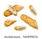 baguette with garlic butter and ... | Shutterstock . vector #760599076