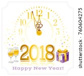 happy new year 2018 text logo... | Shutterstock .eps vector #760604275