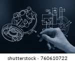 engineer working at computer on ... | Shutterstock . vector #760610722