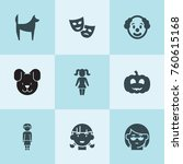 set of 9 smile filled icons... | Shutterstock .eps vector #760615168