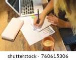 young female student working on ... | Shutterstock . vector #760615306