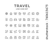 set line icons of travel | Shutterstock .eps vector #760615675