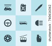 set of 9 car filled icons such... | Shutterstock .eps vector #760616362