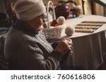 the old grandmother knits warm... | Shutterstock . vector #760616806
