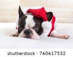 french bulldog in santa costume ... | Shutterstock . vector #760617532