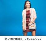 young beautiful stylish woman ... | Shutterstock . vector #760617772