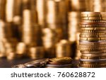 golden coin stacks  rich money... | Shutterstock . vector #760628872