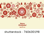 christmas ornament balls with... | Shutterstock .eps vector #760630198